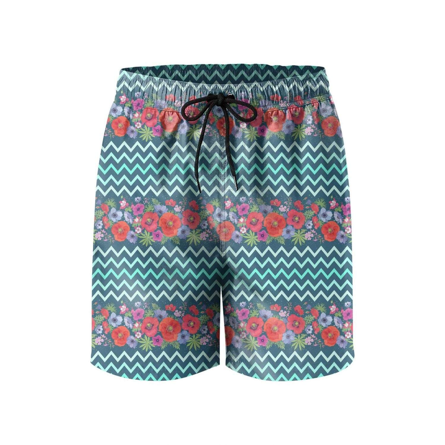 Microfiber Flower Seamless Pattern with Zigzag Vector Solid Board Swim Mens Shorts Adjustable