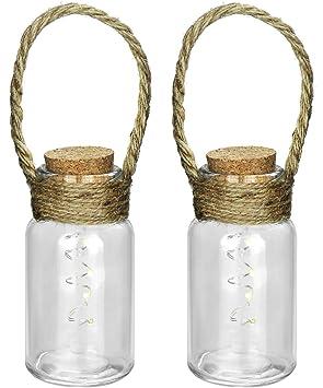com-four® 2 Botellas de Vidrio Decorativas LED con Cuerda como decoración Colgante o lámpara de Mesa (02 Piezas - Botella de Vidrio Deco)