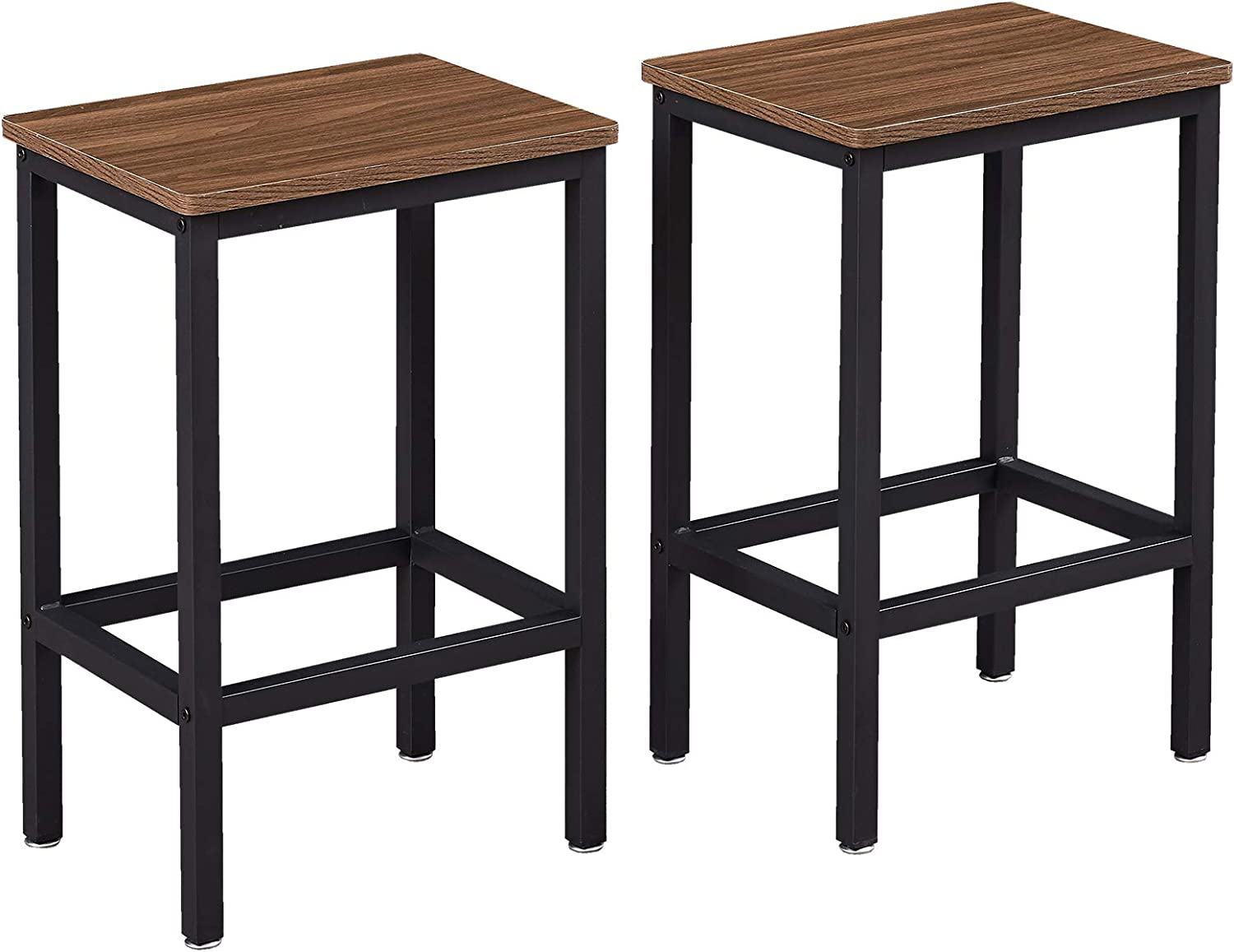 SUPERJARE Set of 2 Bar Stools, Industrial Barstools Chairs and Footrest with Steel Frame, Pub Kitchen Counter Height Bar Chairs - Brown