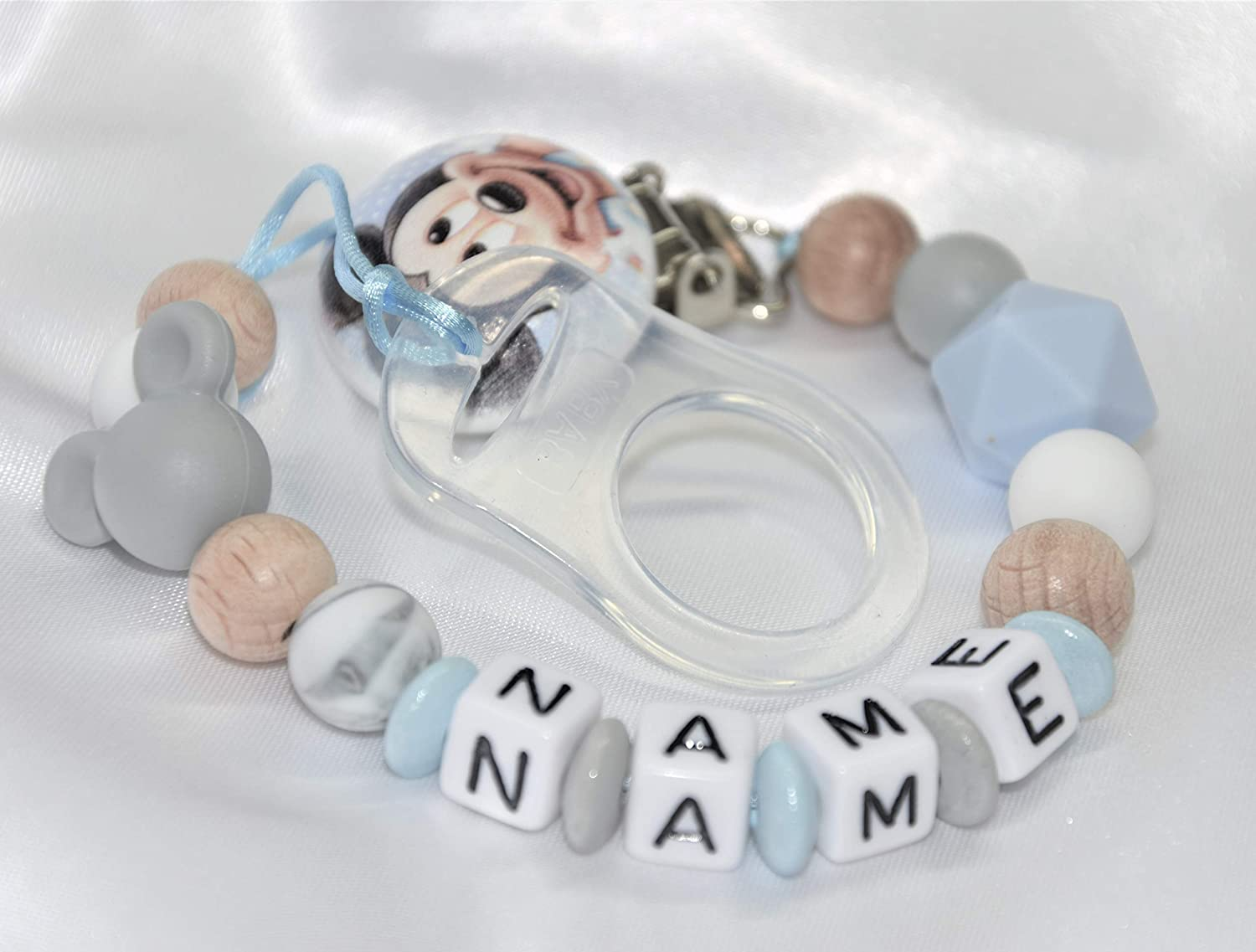 Personalised Dummy Clip//Mickey Dummy Clip//Disney Clips//Wooden Dummy Clip//Silicone Dummy//Crochet Dummy Strap//Baby Pacifier