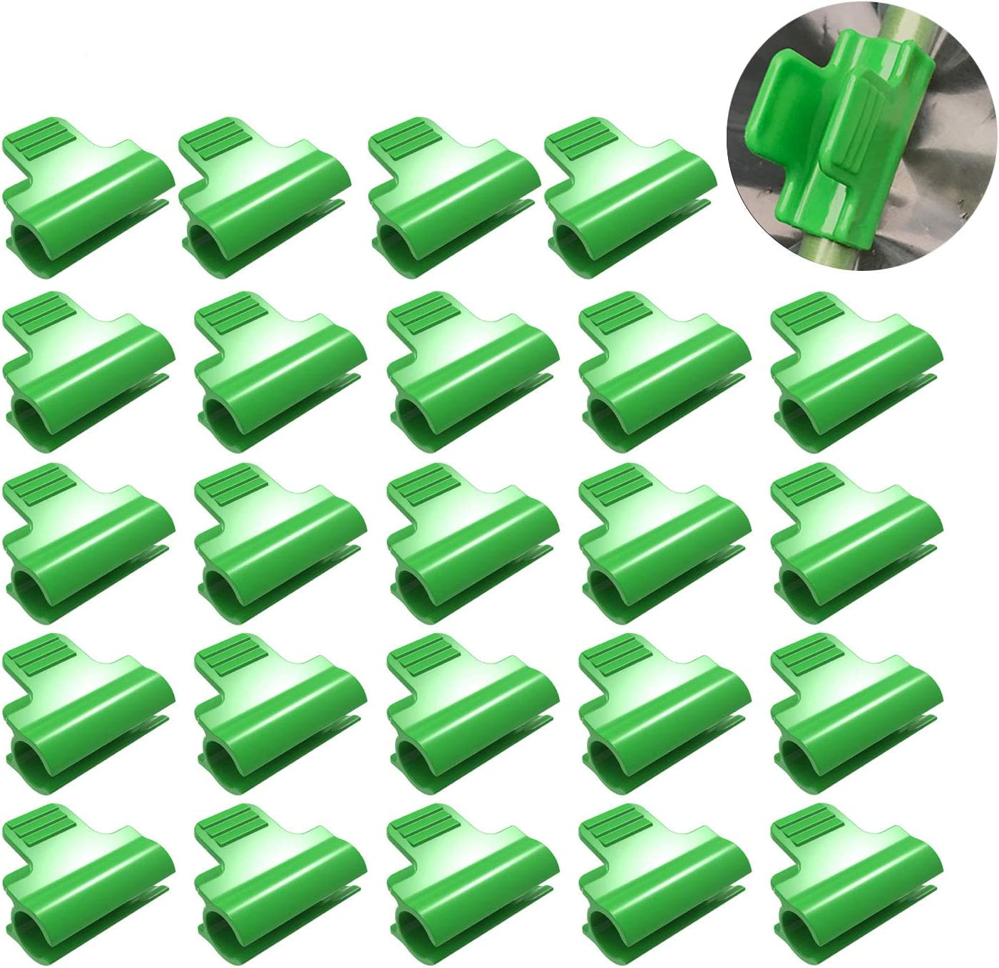 Sirozi 24 Pack Greenhouse Row Cover Tunnel Hoop Clips, Netting Tunnel Hoop Clamps Extension Shed Film Frame Shading Net Rod Clip for 11mm/0.43 Plant Stakes