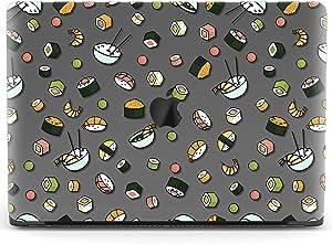 Mertak Hard Case for Apple MacBook Pro 16 Air 13 inch Mac 15 Retina 12 11 2020 2019 2018 2017 Rice Design Plastic Touch Bar Food Kawaii Print Japanese Sashimi Clear Laptop Pattern Sushi Protective
