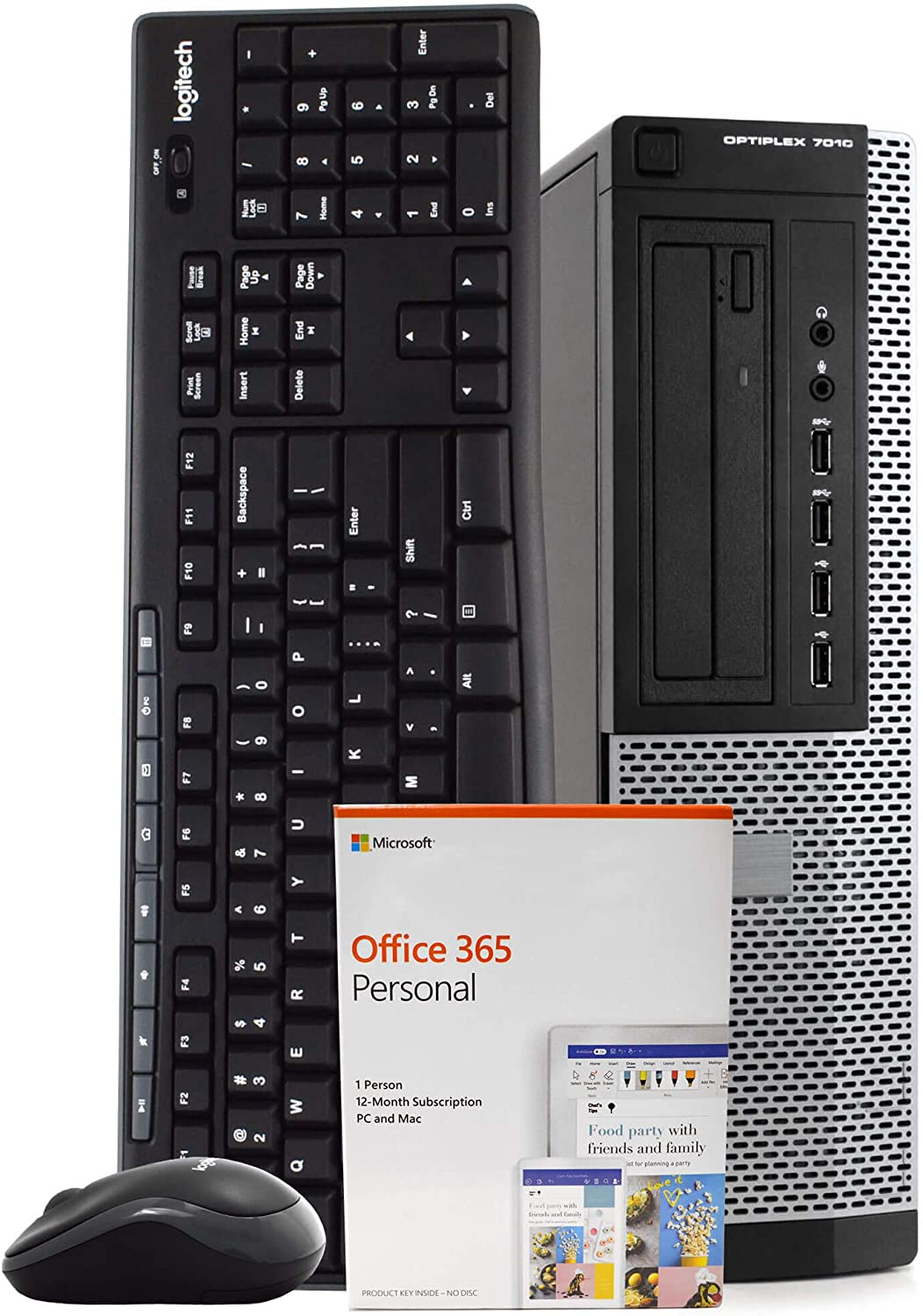 Dell OptiPlex 7010 PC Desktop Computer, Intel Quad Core i7-3770, 8GB RAM, 500GB HDD, Windows 10 Pro, Microsoft Office 365 Personal, New 16GB Flash Drive, Wireless Keyboard & Mouse, DVD, WiFi (Renewed)