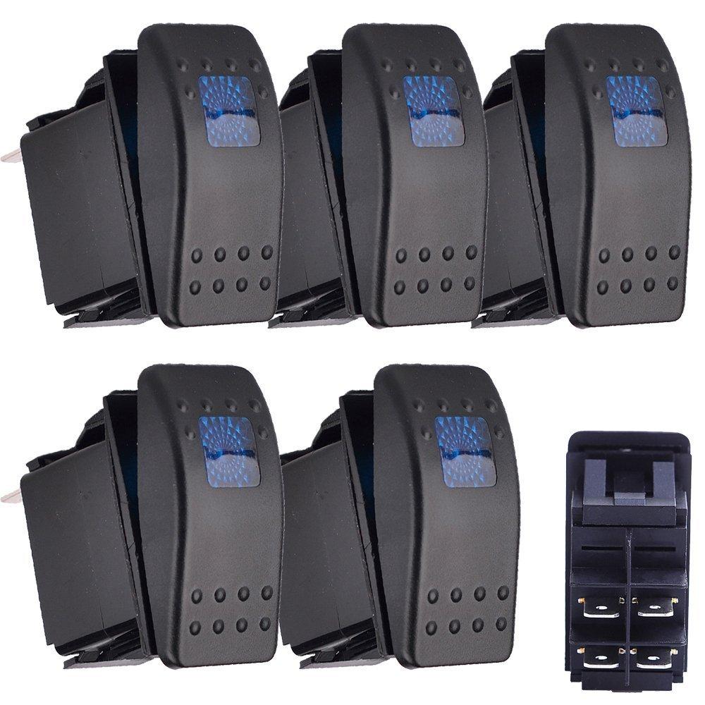 E Support™ 5 X KFZ Auto Offroad Kippschalter Druckschalter Schalter Wippschalter Wasserdicht 12V 20A Blau LED Licht 4Pin AN/AUS