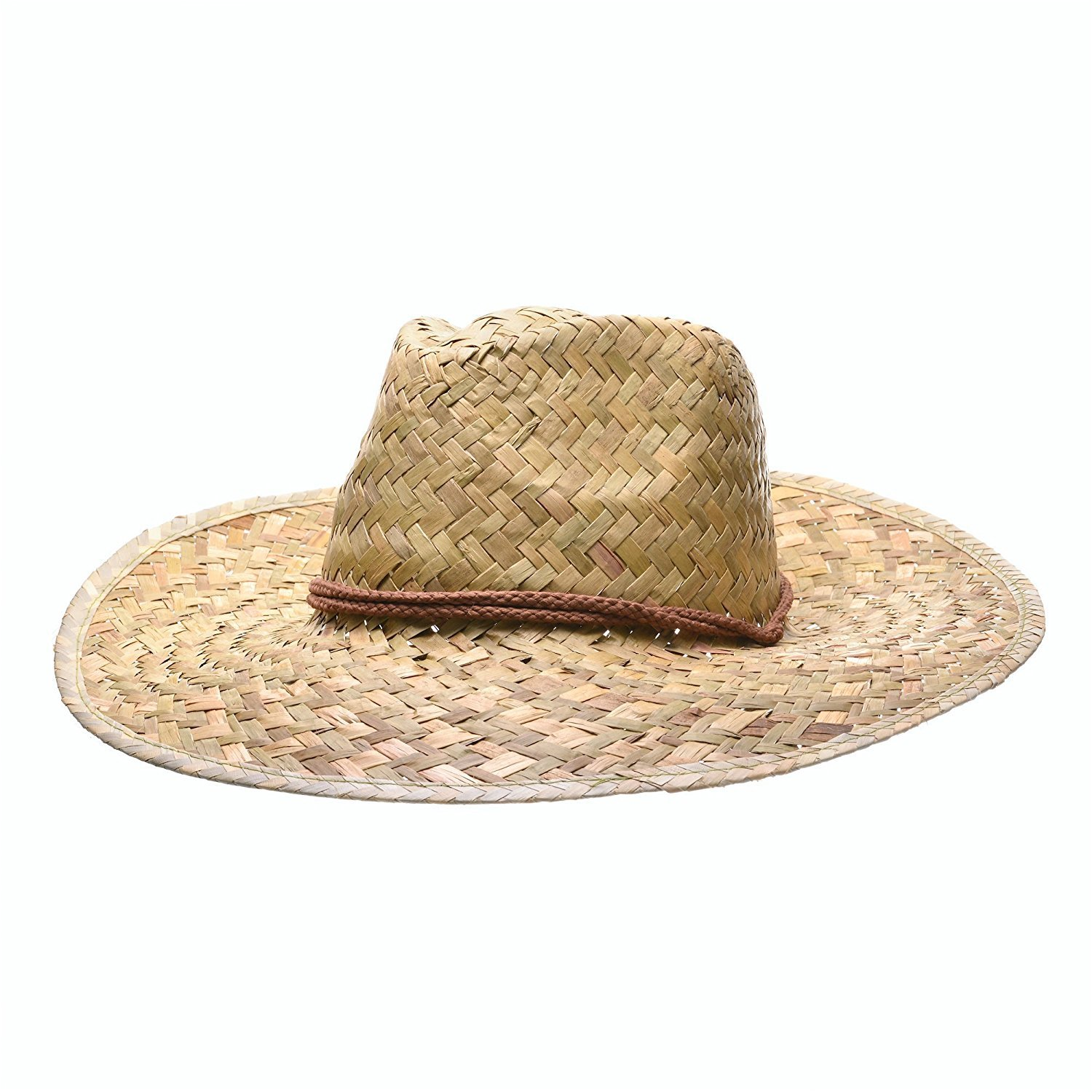 Woven Straw Cowboy/Cowgirl Hat with Brown Adjustable Drawstring Chinstrap, Great for Costume Parties Bottles N Bags