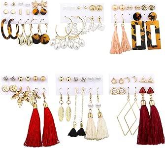 38 Pairs Women Tassel Earrings Jewelry Set Girls Stud Earrings Acrylic Hoop Earrings Drop Dangle Earrings Pearl Maple Leaf Fashion Jewelry for Valentine/Birthday Gift
