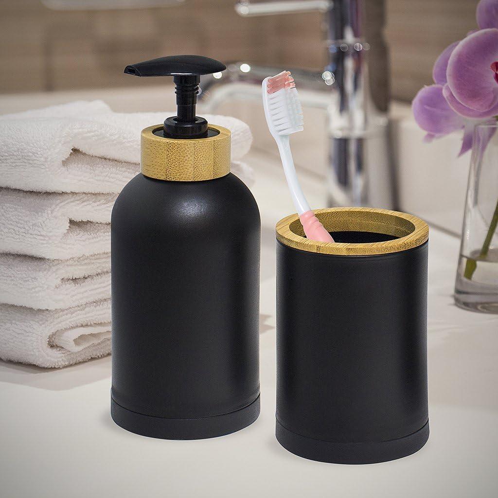 Balvi Set Bagno Zen Colore Nero Set di 3 Pezzi Dosatore di Sapone Bicchiere e scopino Plastica PP//bamoo