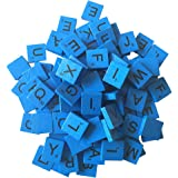 200 Wood Letter Scrabble Tiles - Blue Color - 2 Complete Sets - Game Replacement Crafts Weddings Scrapbooking