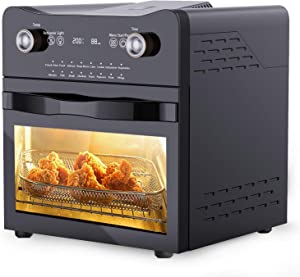14.7-Quarts Air Fryer Toaster Oven, PakOne 16-in-1 1800-Watt Toaster Oven Cooker, All in One Countertop Oven for Air Frying, Roasting, Defrosting & Dehydrating, Accessories and Recipes Included