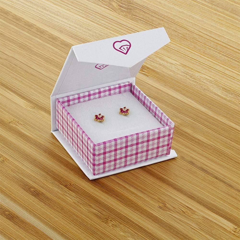 5mm Pink B/éb/é Enfants In Season Jewelry Plaqu/é or 18k Tiges poussettes s/écurit/é /à vis Fleur Boucles doreilles