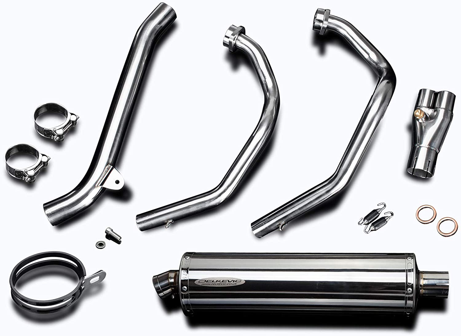 Delkevic Full 2-1 compatible with Honda CRF1000L Africa Twin 18 Stainless Steel Oval Muffler Exhaust 16-19