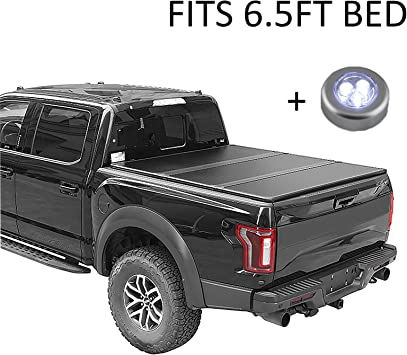 Amazon Com Carmocar Hard Tri Fold Truck Bed Tonneau Cover For 2014 2018 Replacement For Chevy Silverado Gmc Sierra 6 5 Fleetside Waterproof Tonneau Covers Top Mount Assembly Led Lamp Short Bed Tonneau Covers Automotive