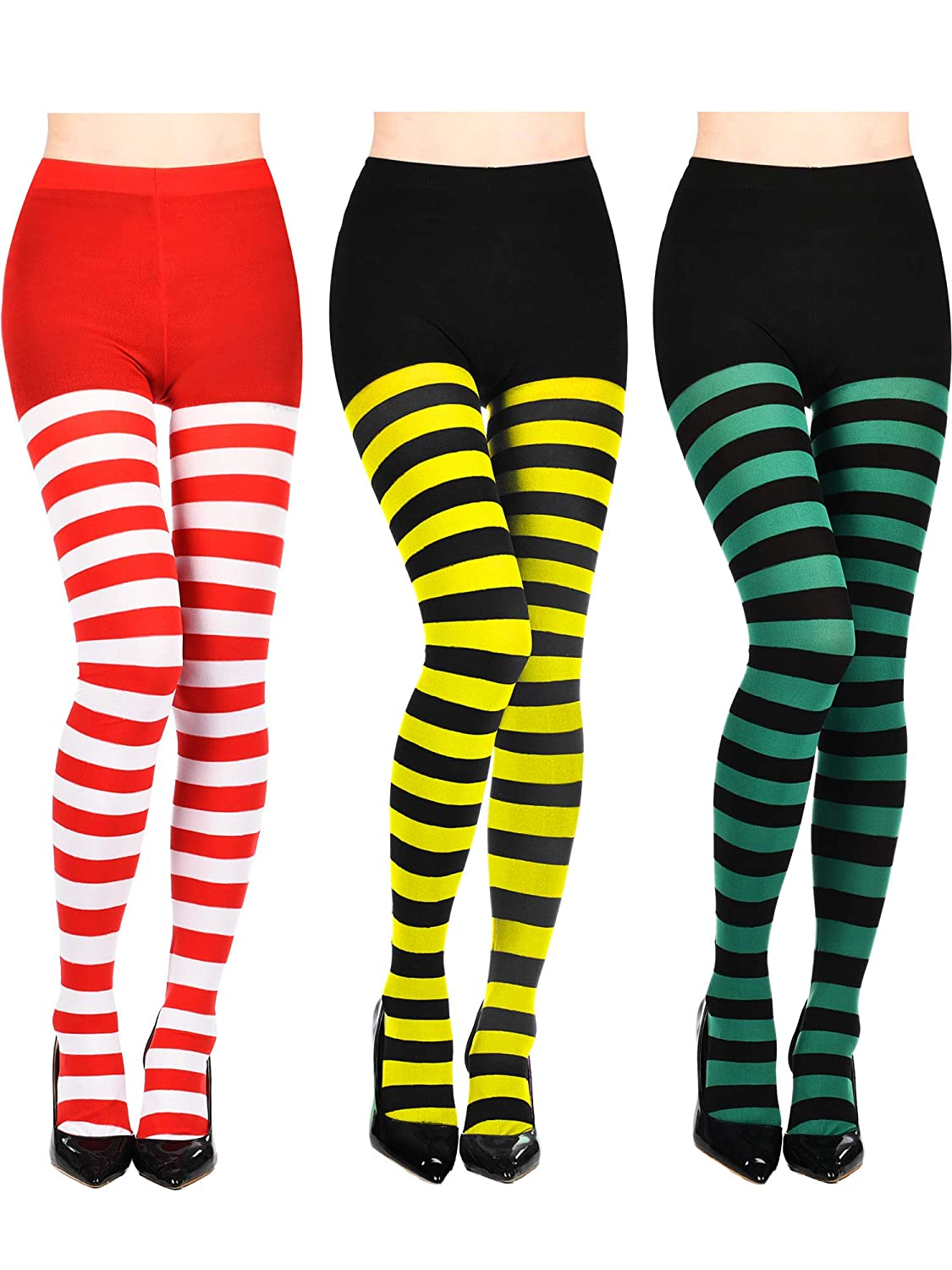 Bememo 3 Pairs Christmas Striped Tights Thigh High for Costume Cosplay Supplies