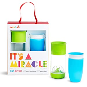 Munchkin It's a Miracle! Gift Set, Includes 10oz Miracle Cup and 14oz Miracle Fruit Infuser, Blue/Green
