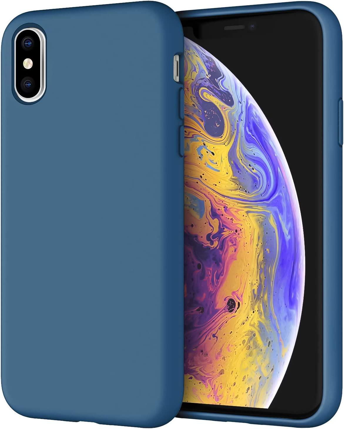 JETech Silicone Case for iPhone X, iPhone Xs, 5.8-Inch, Silky-Soft Touch Full-Body Protective Case, Shockproof Cover with Microfiber Lining, Blue Cobalt