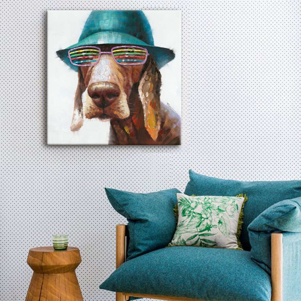 SEVEN WALL ARTS - 100% Hand Painted Oil Painting Animal Cute Dog Wears Colorful Glasses with Stretched Frame 24 x 24 Inch by SEVEN WALL ARTS (Image #3)