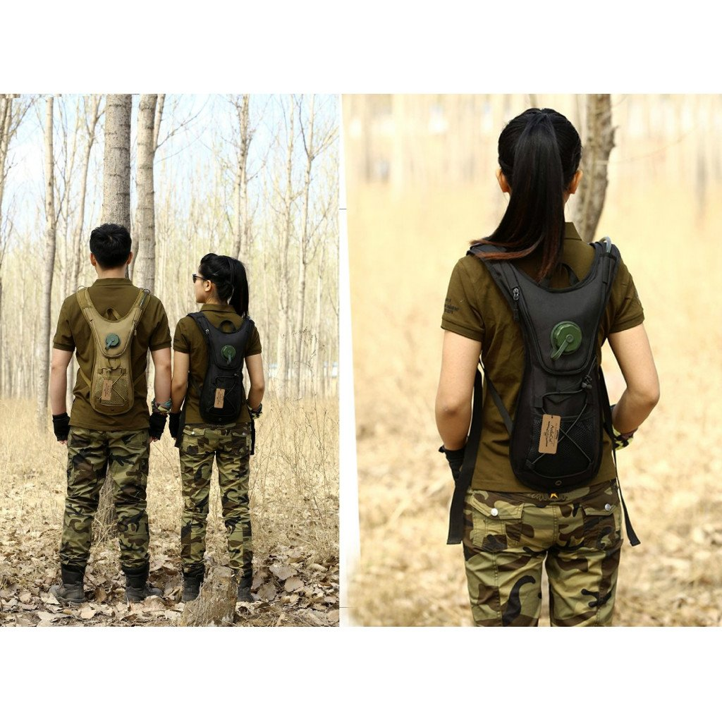 CUTICATE 2.5L Hydration Pack Water Bag Pouch Backpack Bladder Hiking Cycling Black - Jungle Digital camo, one Size by CUTICATE