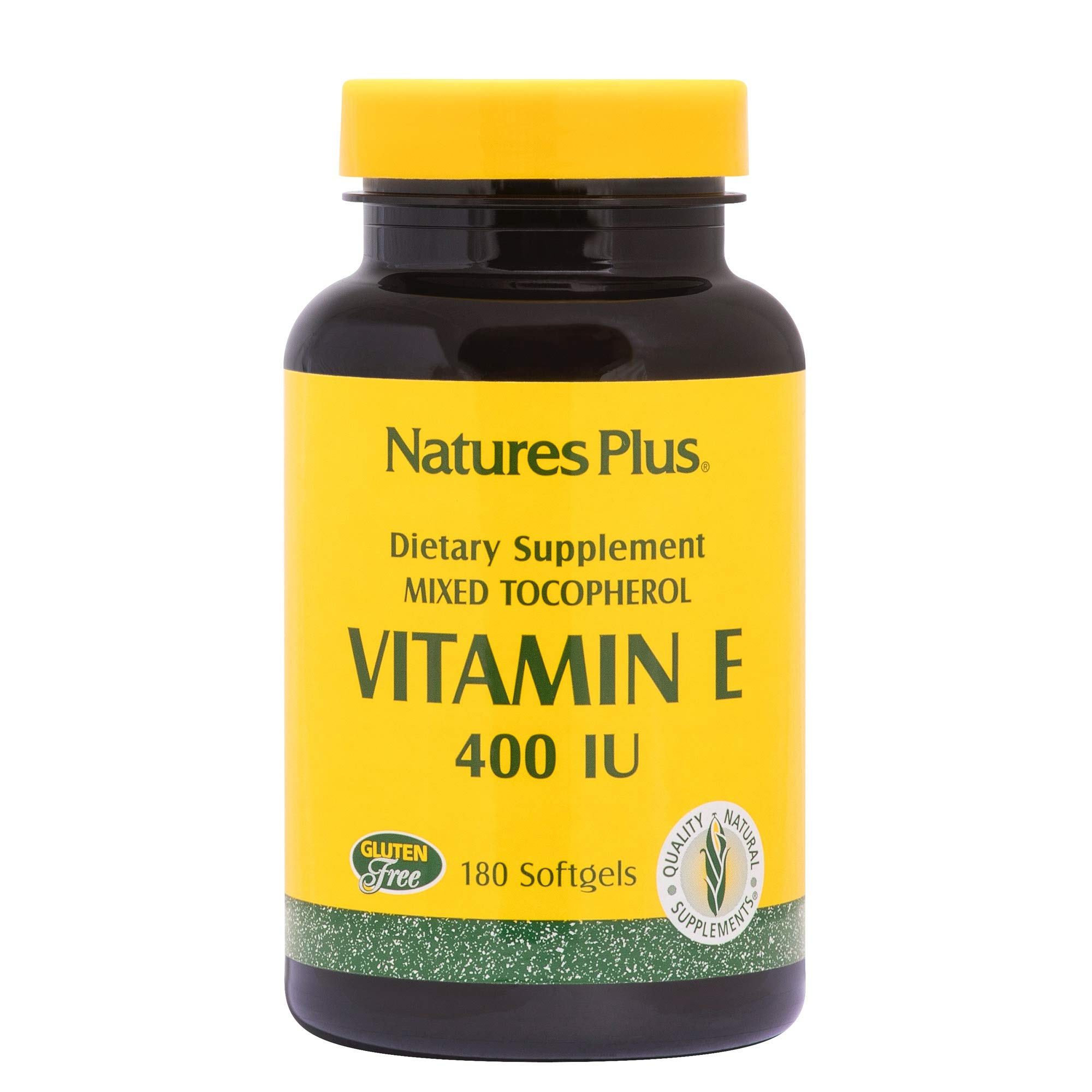 Natures Plus Vitamin E - 400 IU Mixed D-Tocopherol, 180 Softgels - Promotes Healthy Skin, Eyes & Hair, Supports Heart Health, Antioxidant - Gluten Free - 180 Servings