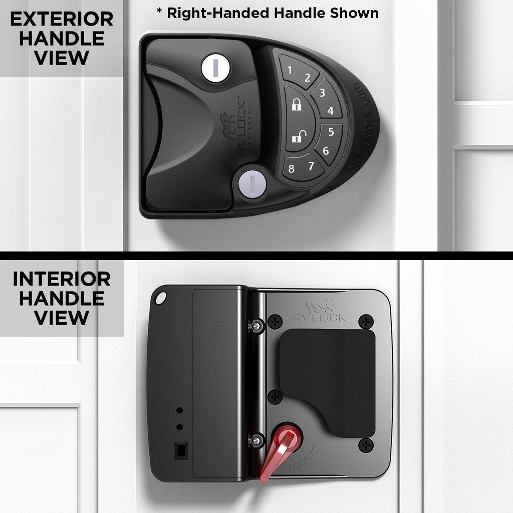 RVLock V4 Left Hand Keyless Handle w//Integrated Keypad /& Fob