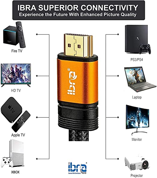 2.1 HDMI Cable 8K IBRA 1m Ultra HD Lead High-Speed Cord 48Gbps Supports 8K@60HZ 4K@120HZ 4320p Compatible with Fire TV 3D Support Ethernet Function 8K UHD 3D-Xbox PlayStation PS3 PS4 PC-Orange