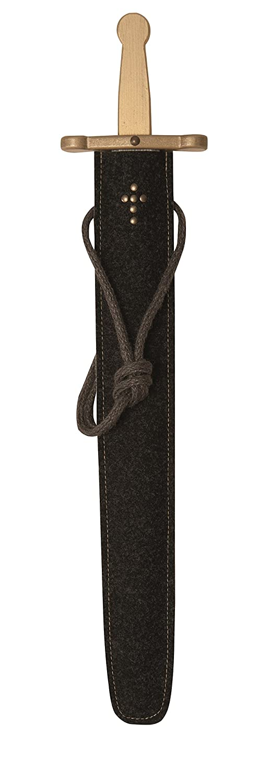 Spielzeugmanufaktur VAH Stabiles Excalibur Schwert-Set Natur, 50cm Länge mit Schwert aus Buche-Echtholz und Schwert-Scheide aus Filz [Tolles Design   Viele Details  Made in Germany] 930