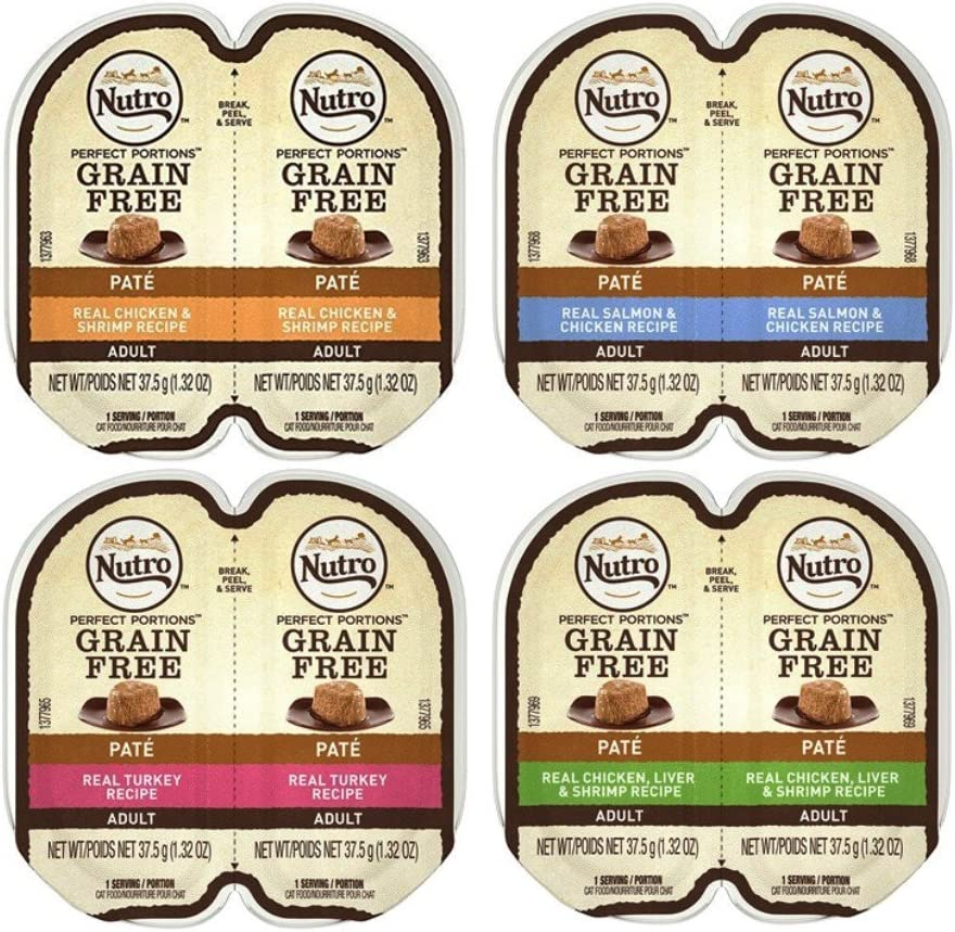 Nutro Perfect Portions Grain Free Soft Loaf Cat Food 4 Flavor 8 Can Variety Bundle: (2) Chicken & Shrimp, (2) Salmon & Chicken, (2) Turkey, and (2) Chicken Liver & Shrimp, 2.6 Oz. Ea. (8 Cans Total)