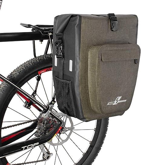 LYCAON Alforjas para Portaequipajes de Bicicleta Impermeable Alforjas de Ciclismo de TPU Portaequipajes Bicicleta Alforjas Bolsas Traseras para Bicicletas (30L, Caqui, 1 Pack): Amazon.es: Deportes y aire libre
