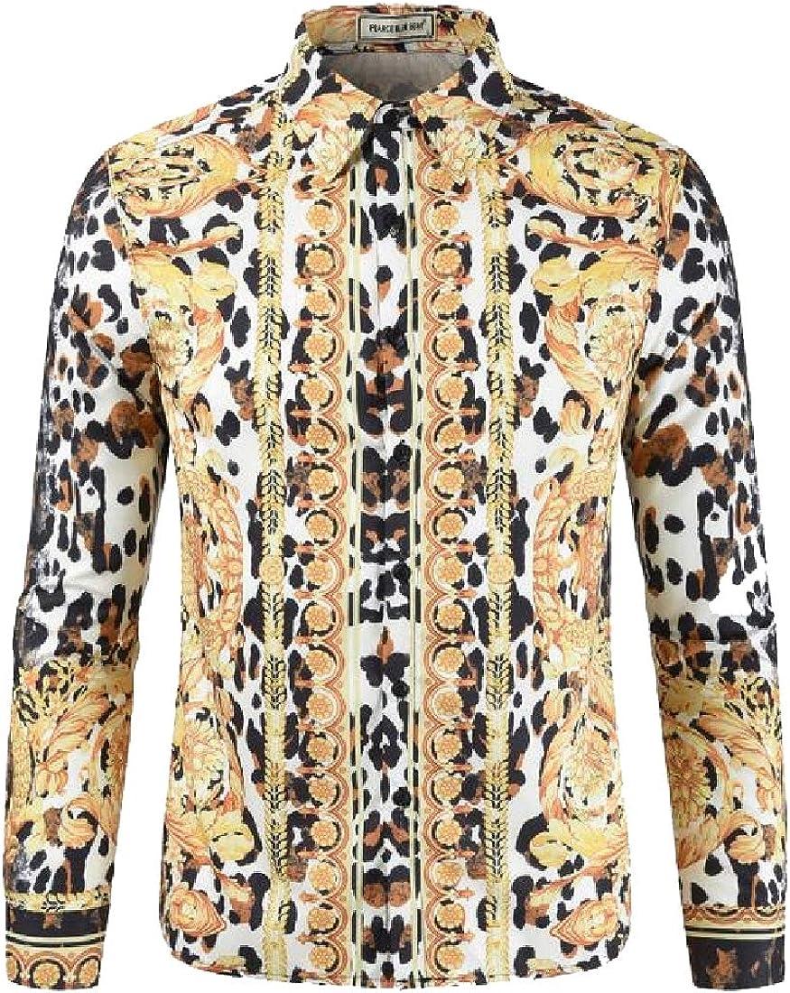 dahuo - Camisa de Manga Larga con Estampado de Leopardo para Hombre 1 US L: Amazon.es: Ropa y accesorios