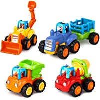 AOKESI Friction Powered Cars Push and Go Toys Car Construction Toys Toddler Trucks Set of 4 Tractor, Cement Mixer…