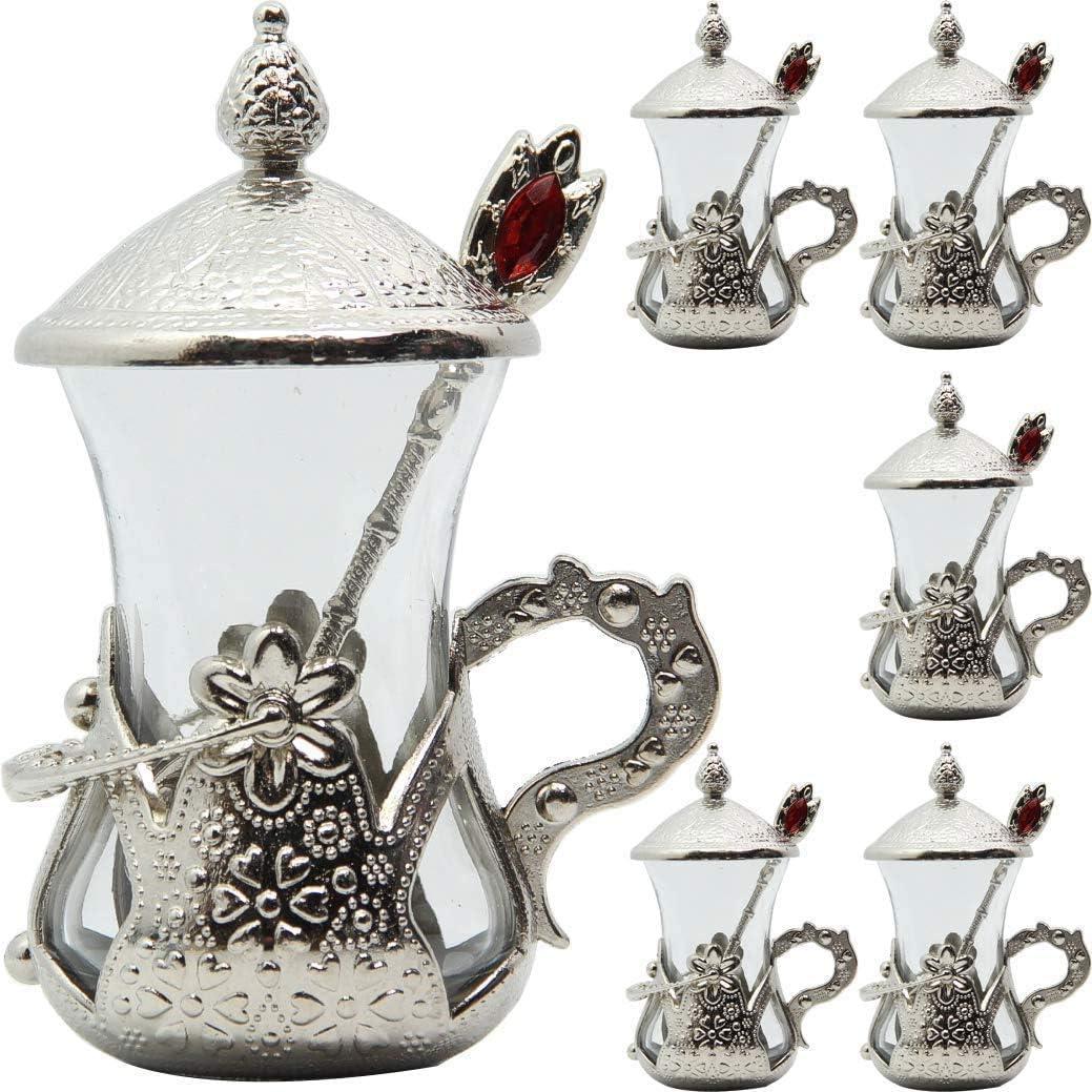 Silber t/ürkisches traditionelles Teegl/äser-Set mit Untertassen und Haltern Tee-Set 6 St/ück