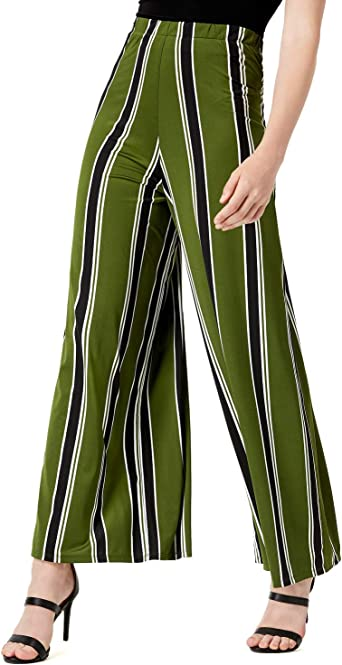Bar III Womens Striped High Rise Tie Front Wide Leg Pants BHFO 3551