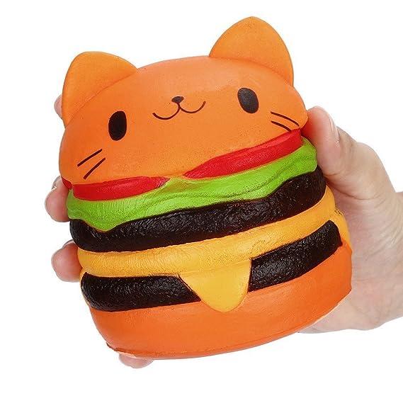 iSuper Kawaii gato Hamburger Squishy Stress Relief Squeeze: Amazon.es: Relojes