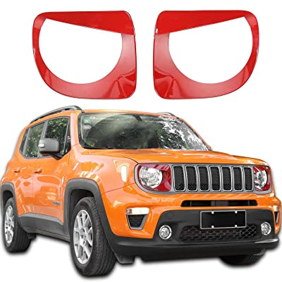 JeCar Headlight Bezels Headlight Trim Cover Angry Bird Head Lamp Ring for 2020 2020 Jeep Renegade, Red: Automotive