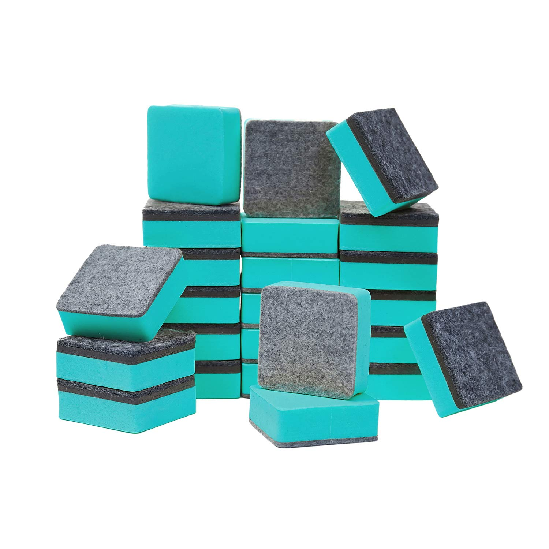 48-Pack Cute Magnetic Dry Blackboard Dry Erasers Cleaner,Green