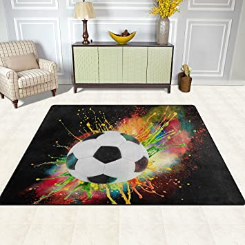 Attraktiv Doshine Bereich Teppiche Matte Teppich 4 U0027X5u0027, Sport Ball Fußball Soccer  Art Polyester