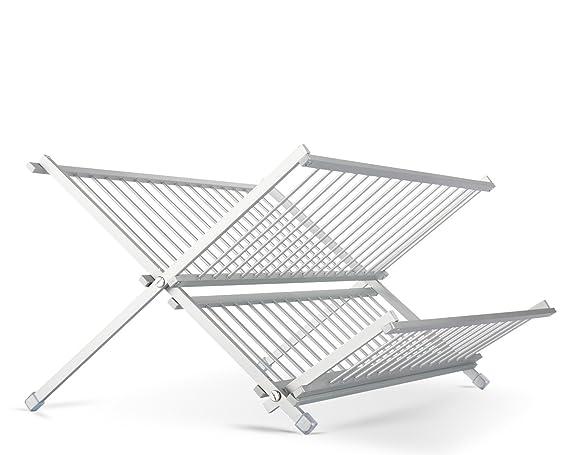 Escurreplatos plegable estante para platos plato escurridor, de 2 niveles, Por miusco, aluminio: Amazon.es: Hogar