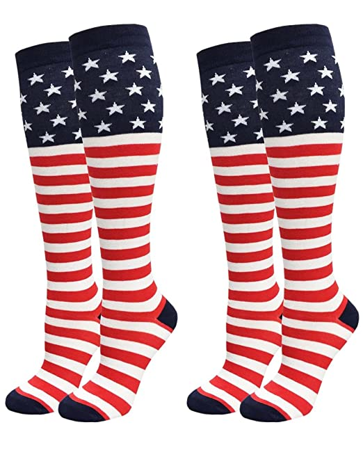 040a80bd5 Image Unavailable. Image not available for. Color  Women s Stars and Stripes  USA Knee High Socks ...