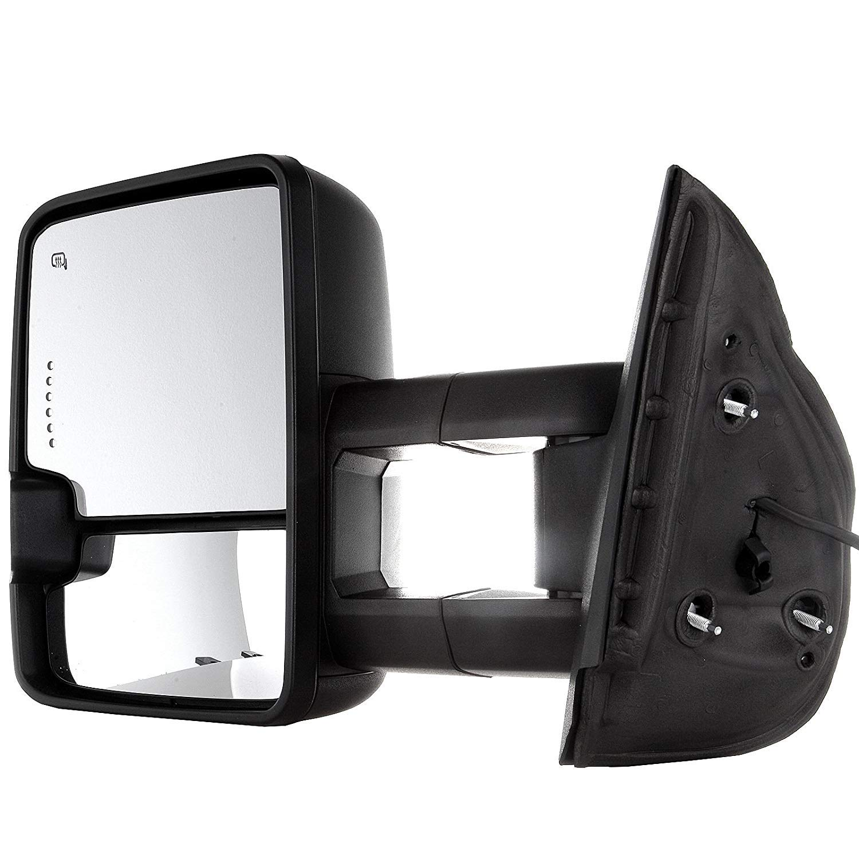 APA Chevy Silverado GMC Sierra Truck 07-13 Telescopic Tow Power Heat LED Signal Black Mirror Set Pair HWT 2015 Style