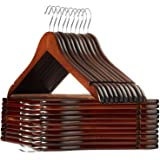 Casafield - 20 Walnut Wooden Suit Hangers - Premium Lotus Wood with Notches & Chrome Swivel Hook for Dress Clothes, Coats, Ja