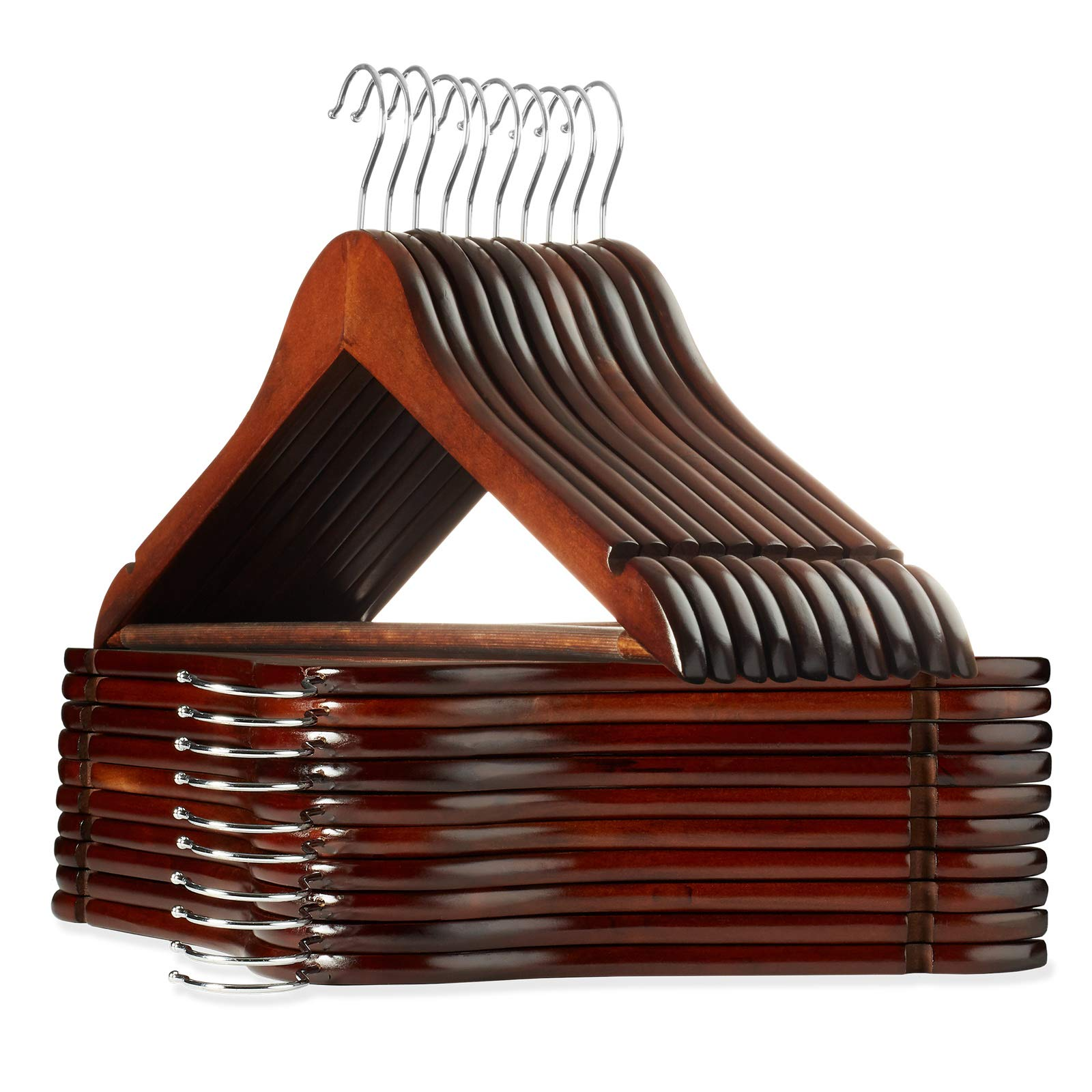Casafield - 20 Walnut Wooden Suit Hangers - Premium Lotus Wood with Notches & Chrome Swivel Hook for Dress Clothes, Coats, Jackets, Pants, Shirts, Skirts by Casafield
