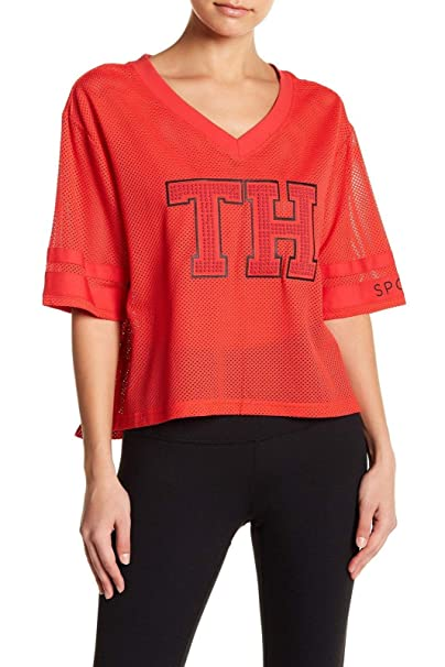 385c08ee9310fb Image Unavailable. Image not available for. Color  Tommy Hilfiger Women s  Crop Vault Mesh Varsity Top ...