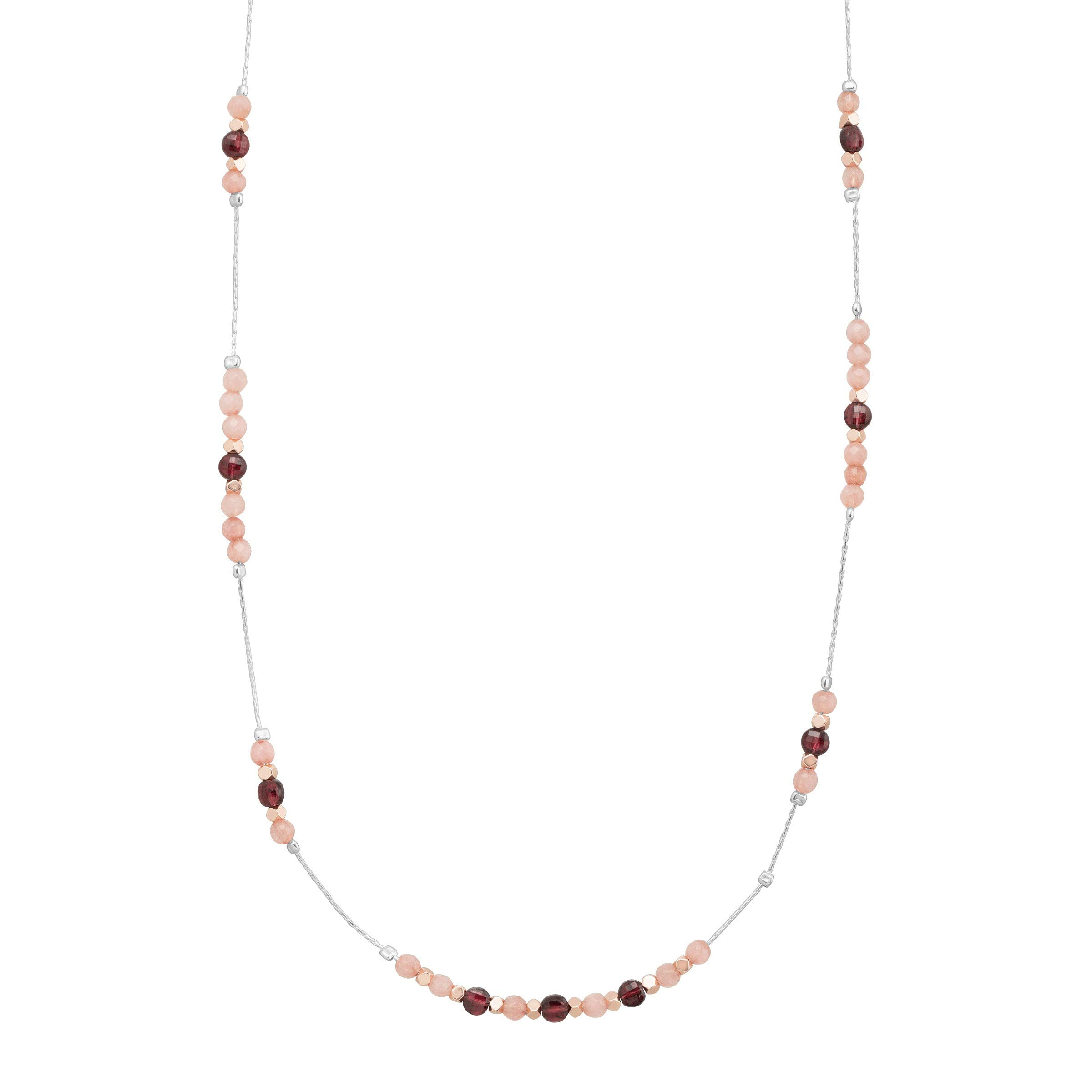 Silpada 'Rock This Way' 13 5/8 ct Natural Pink Jade, Garnet, Hematite Beaded Necklace in Sterling Silver