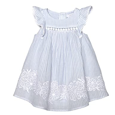 2815101e4d14a Amazon.com: Tahari Baby Flutter Sleeve Embroidered Dress Blue/White ...
