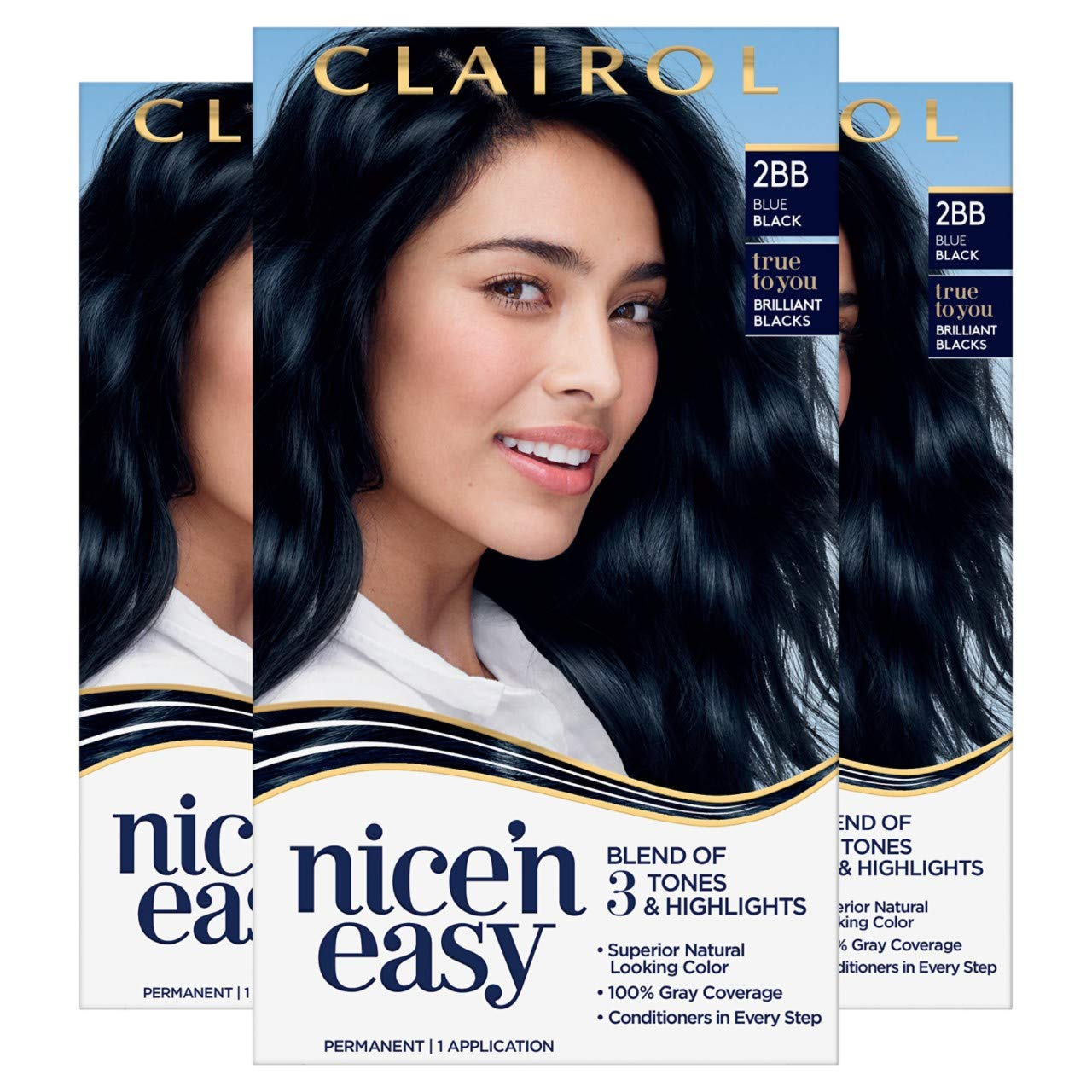 Clairol Nice'n Easy Permanent Hair Color, 9BB Blue Black, 9 Count