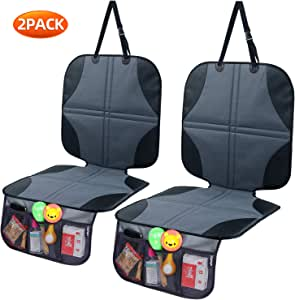 Ohuhu Car Seat Protector Under Car Seat 2 Pack, Non-Slip Car Seat Protector for Baby/Child Car Seat, Seat Cover for Carseats Dog Mat Vehicle Cover with Organizer