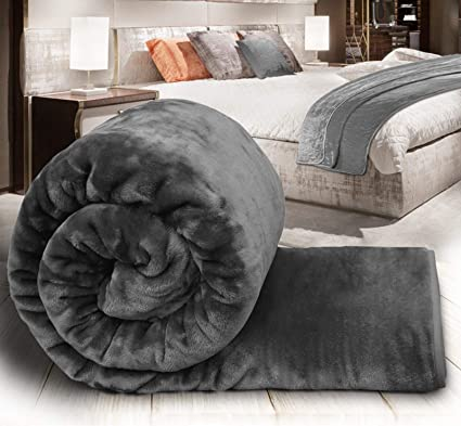 J T Faux Fur Blanket Throw Mink Sofa Bed Luxury Soft Single Double King  Size Warm Large (Charcoal Grey 0f2e87e80