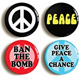 "4 x ""PEACE"" SIXTIES BADGES BUTTONS PIN (1inch/25mm diameter) ANTI WAR PROTEST"