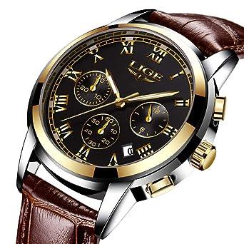 483fd95485 メンズ腕時計 LIGE ブラウン レザーバンド ベルト 防水ウォッチ クロノグラフ 日付表示 ビジネス カジュアル ファッション