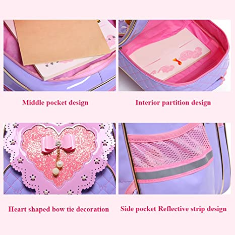 Amazon.com | Zhuhaitf Three-piece Cute Princess with Wheels Rolling Backpack for Girls for School | Kids Backpacks