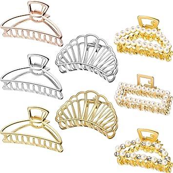 Accesorios Para El Pelo 12 Unids Perla Artificial Pinzas De Cabello Flor De Oro